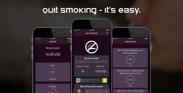 Quit smoking (iOS, Swift3) - CodeCanyon Item for Sale