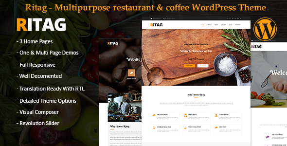Food restaurant coffee pizza cafe WordPress Theme rtl