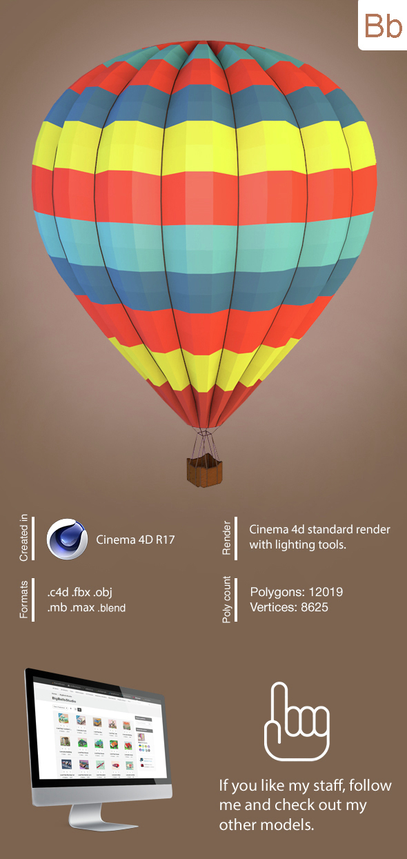 Low poly balloon - 3DOcean Item for Sale