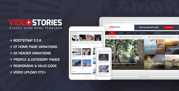 VideoStories - A Powerful Responsive Video Blogging HTML5 Template