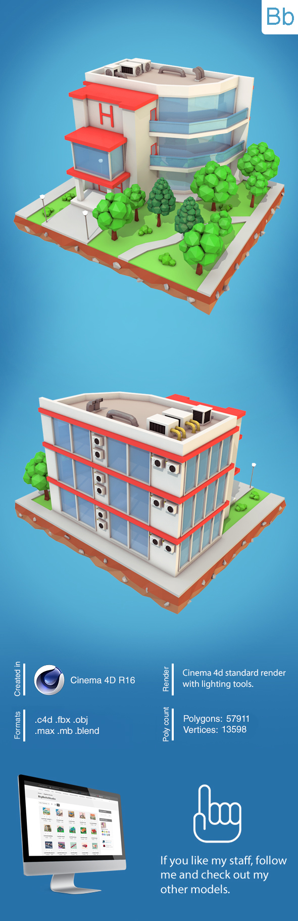 Low Poly Hotel - 3DOcean Item for Sale