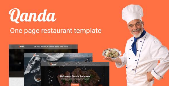 Qanda - One Page Restaurant PSD Template