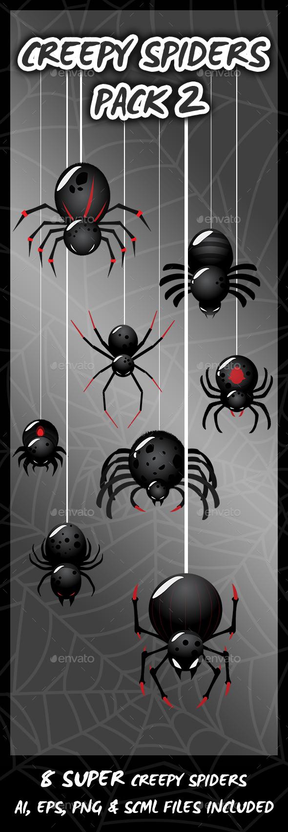 8 Super Creepy Spiders (Sprites)