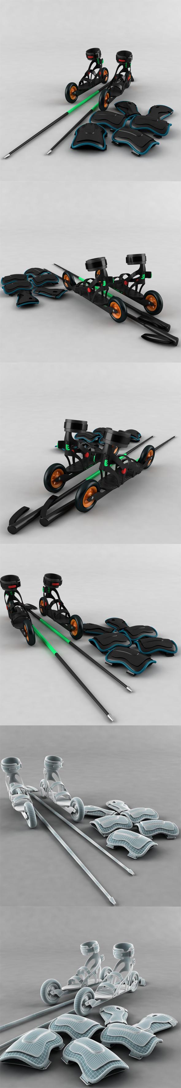 Roller skates, sticks, shields protective - 3DOcean Item for Sale
