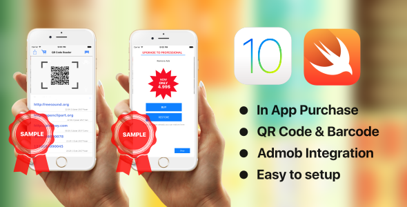 QR Code Reader - Swift 3 - AdMob - In App Purchase
