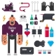 Tattoo Master and Tattooing Tools Vector Icons Set