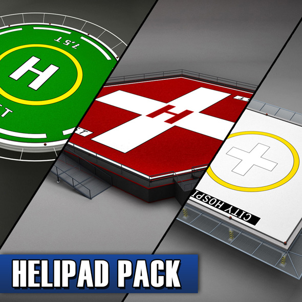 Helipad helicopter pad pack - 3DOcean Item for Sale