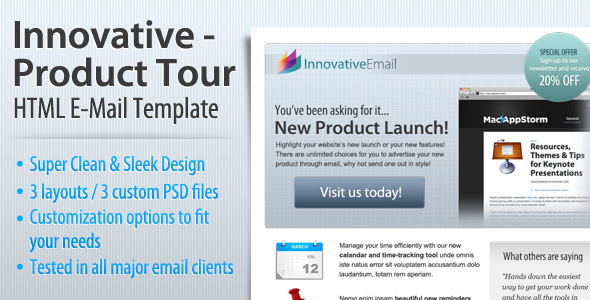Innovative - Product Tour HTML Email Template - Newsletters Email Templates