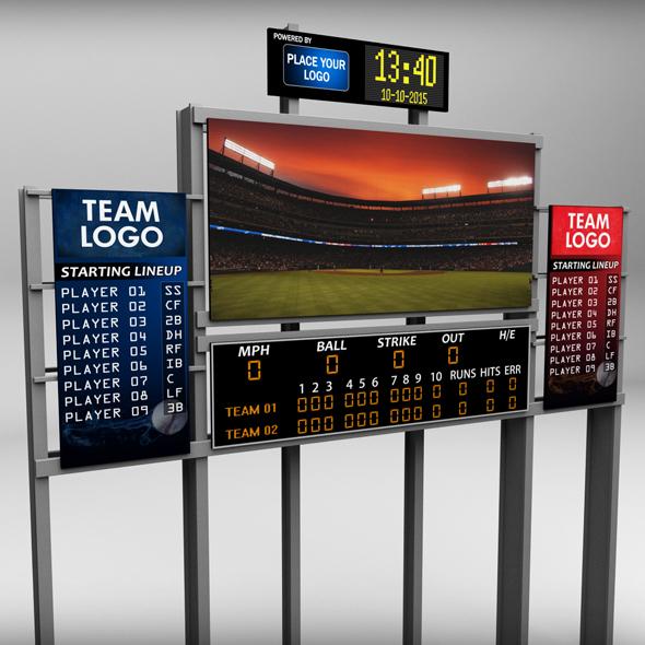 Baseball stadium scoreboard low poly - 3DOcean Item for Sale