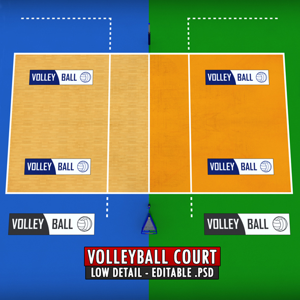 Volleyball court low detail low poly - 3DOcean Item for Sale