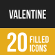 Valentine Filled Low Poly B/G Icons