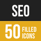 SEO Filled Low Poly B/G Icons