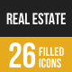 Real Estate Filled Low Poly B/G Icons