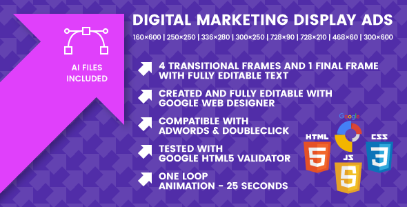 Digital Marketing and advertising Show Advertisements – Animated HTML5 Google Banner Templates (Ad Templates)