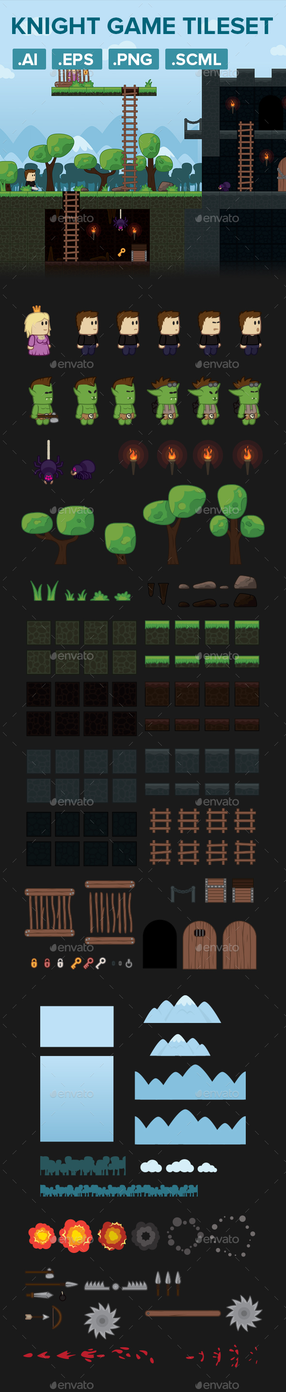 Warrior Platformer Game Tileset and Assets (Game Kits)