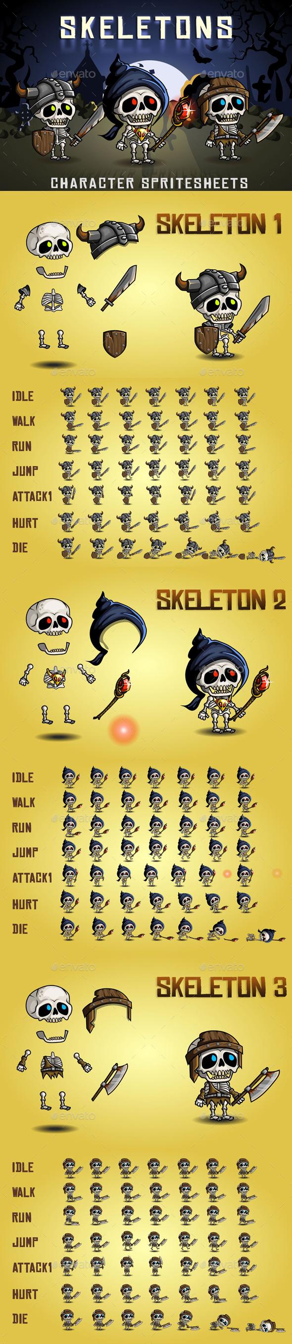 Skeletons 2D Game Character Sprite Sheet (Sprites)