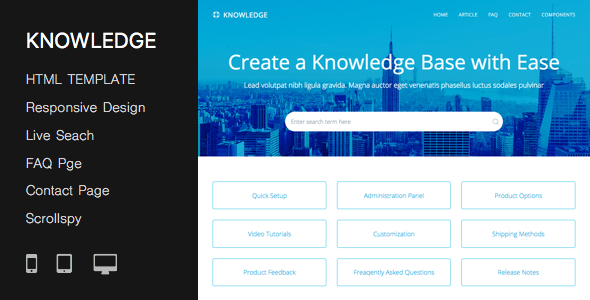 Responsive Knowledge Base & FAQ HTML Template
