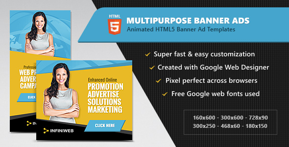 Download HTML5 Ads - Multipurpose Animated Banner Templates