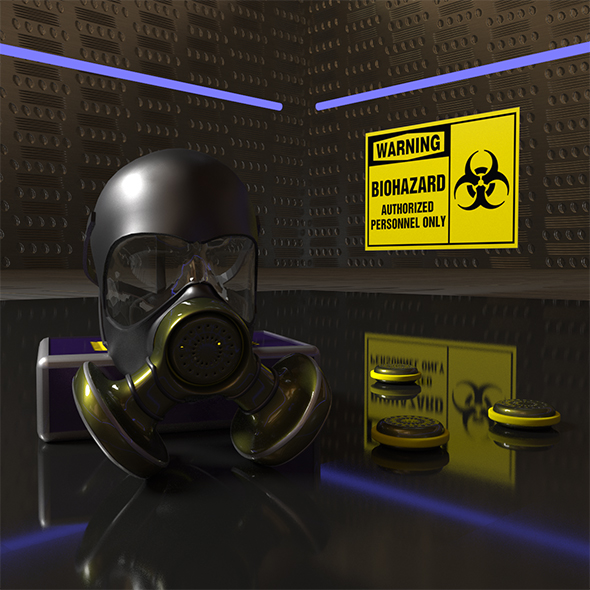 Gas Mask with spare filters - 3DOcean Item for Sale