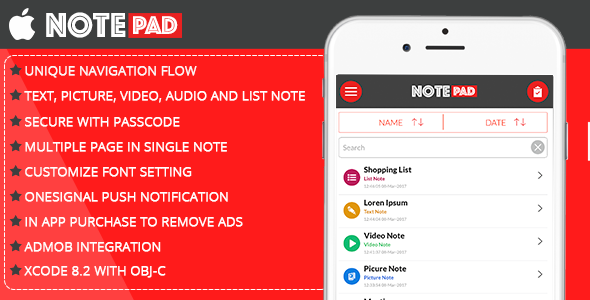 Notepad for iOS - CodeCanyon Item for Sale