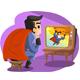 Superheroe Watching Himself on TV