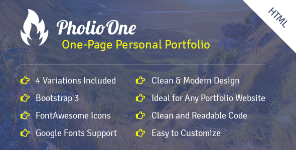 Pholio One - One Page Personal Portfolio HTML Template