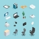 Office Supplies Isometric Icon Set