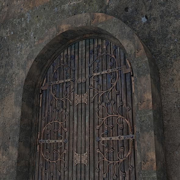 3DOcean Brown Vintage Wooden Rot Iron Door 19573369