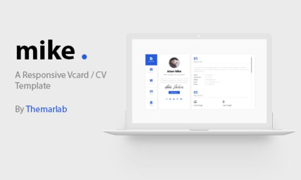 Mike - Responsive Personal Vcard, CV