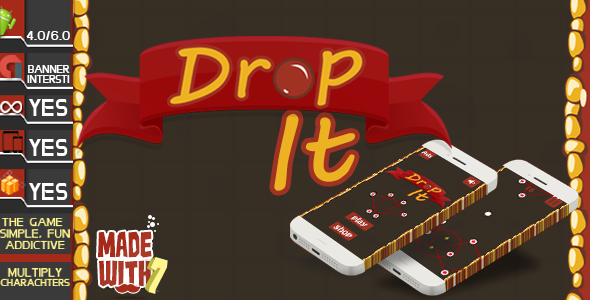 Drop It Game Template | Admob (Banner + Interstitial ) +in game purchase