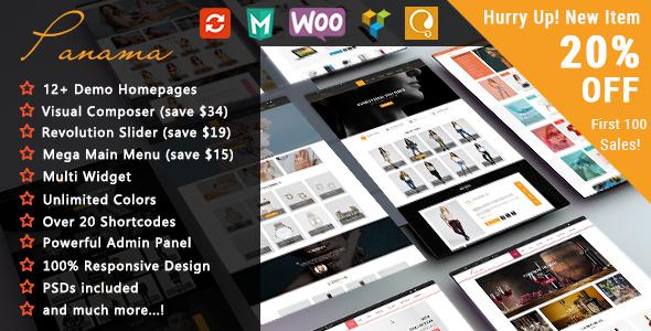 Фото Премиум тема Wordpress  Panama - Responsive WooCommerce WordPress Theme — ThemePreview.  large preview