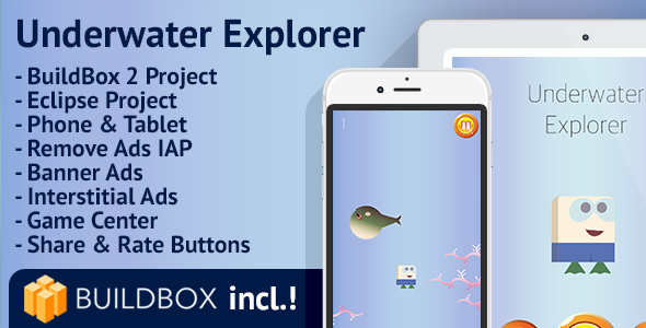Underwater Explorer: Android, BuildBox Included, Easy Reskin, AdMob, Remove Ads