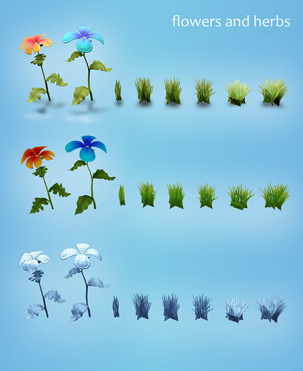 3DOcean Low poly models of flowers and herbs 19576088