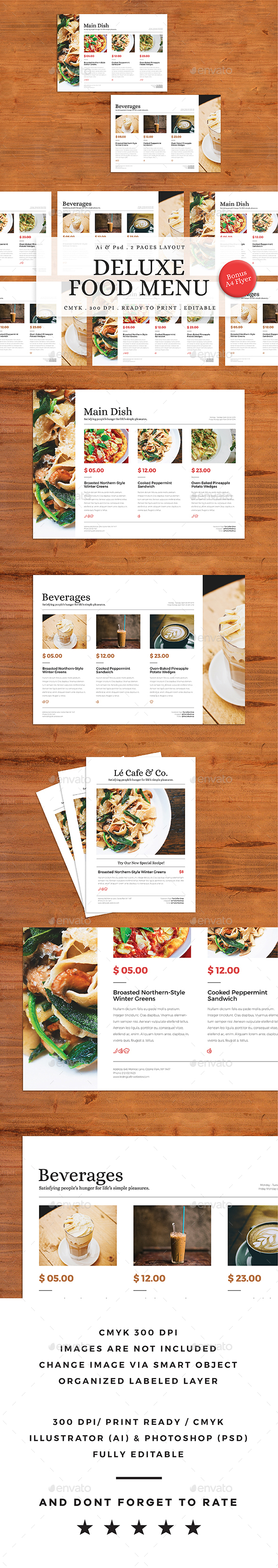 Deluxe Food Menu + A4 Flyer Menu