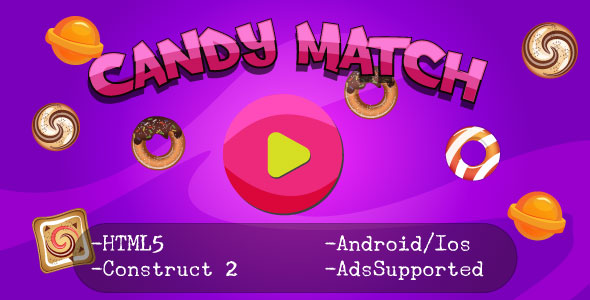Download Candy Match (HTML5 Game + Construct 2 CAPX)