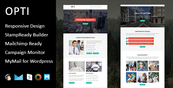 Opti – Multipurpose Responsive E-mail Template with Stampready Builder Access (E-mail Templates)