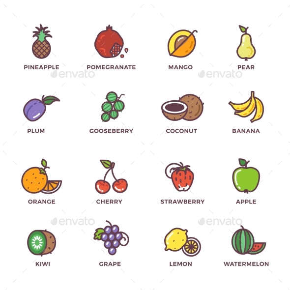 Fruits Raw Food Colored Vector Icons Set