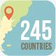 World map 245 countries layered