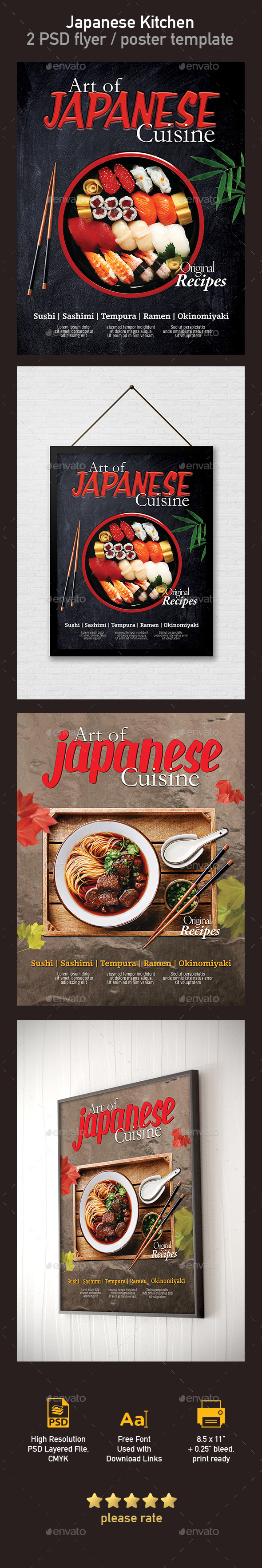 Japanese Restaurant Flyer / Poster Template - 2 PSD