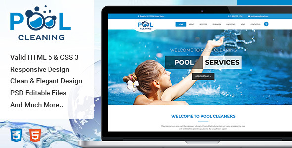 Pool – Cleaning, Building, Repair and Upkeep Solutions HTML Template (Business enterprise)