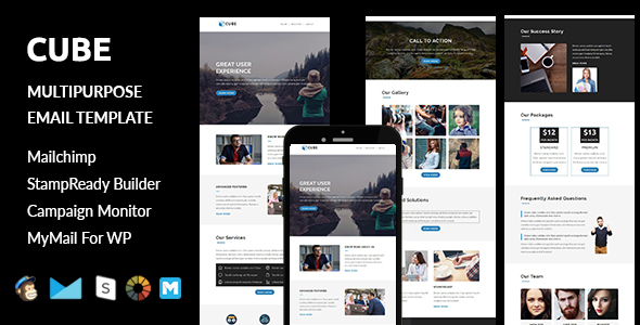 Cube - Multipurpose Responsive Email Template with Stampready Builder Access