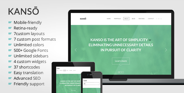 Kanso - Clean One-Page Parallax WordPress Theme