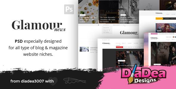 Glamour News - Magazine & News PSD Template