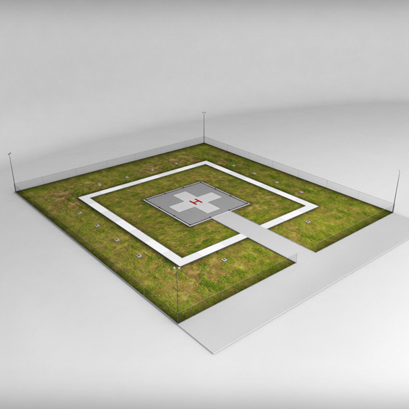 Helipad square ground - 3DOcean Item for Sale