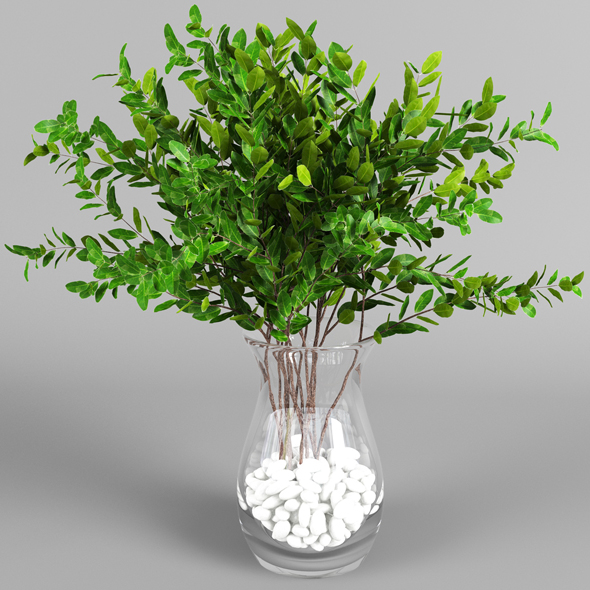Vase with leaves - 3DOcean Item for Sale