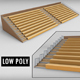 Stadium seating wooden tribune low poly