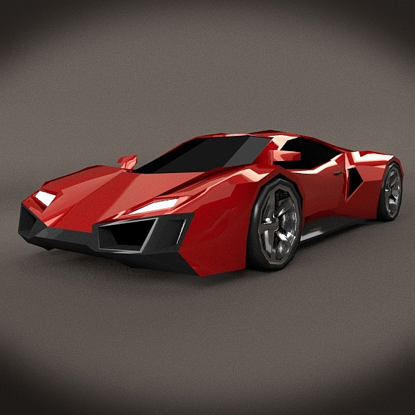 Lowpoly sporty concept vehicle - 3DOcean Item for Sale