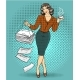 Vector Illustration of Business Woman in Retro Pop
