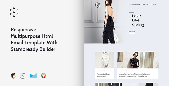 Barbara – Responsive Multipurpose Email Template + Stampready Builder
