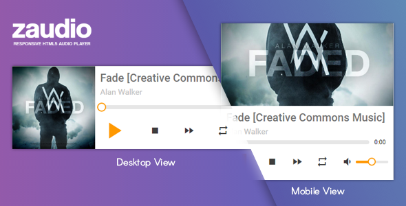 Zaudio – HTML5 JavaScript Audio Player (Media) Download